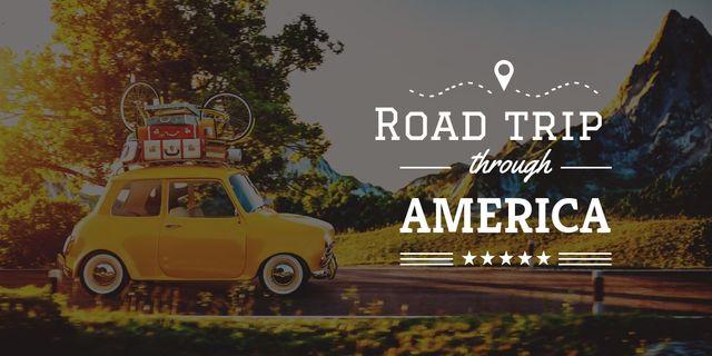 Template di design road trip trough america poster Image
