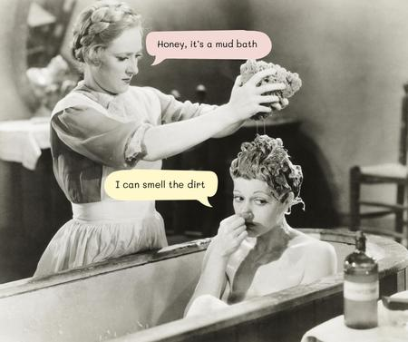 Funny Joke with Woman in Mud Bath Facebook Modelo de Design