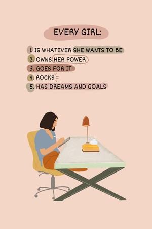 Designvorlage Girl Power Inspiration with Woman on Workplace für Pinterest