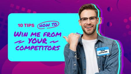 Customer Care Tips with happy Client Youtube Thumbnail Design Template