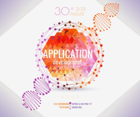 Plantilla de diseño de Application development event announcement Large Rectangle