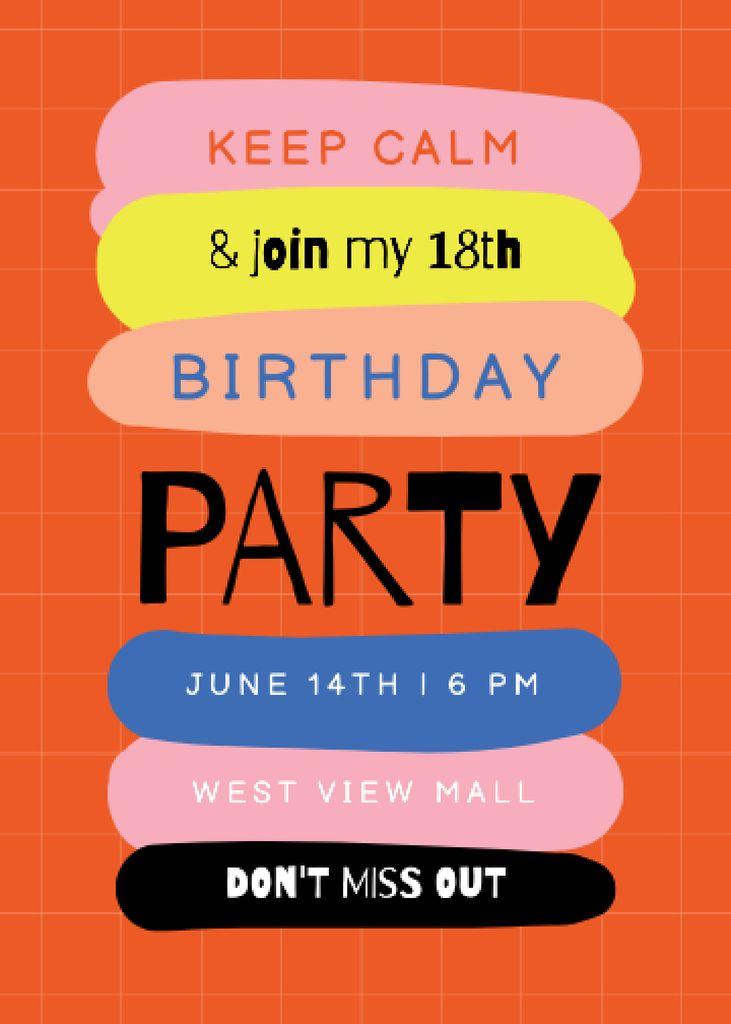 Plantilla de diseño de Birthday Party Announcement with Colorful Blots Invitation