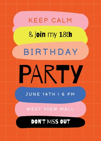 Template di design Birthday Party Announcement with Colorful Blots Invitation