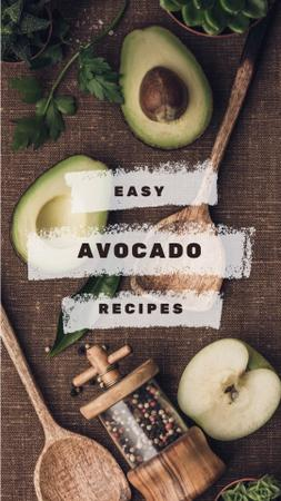 Avocado Recipes with Wooden Spoons and Spices Instagram Video Story Tasarım Şablonu
