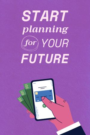 Saving Money with Piggy Bank Pinterest Tasarım Şablonu
