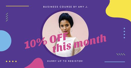 Business Course Offer with Attractive Woman Facebook ADデザインテンプレート