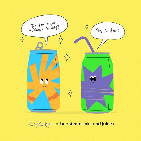 Cute Juices Characters in Cans Instagram Design Template