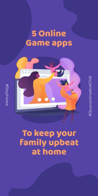 Modèle de visuel #QuarantineAndChill Online Game apps Ad with Happy Family - Graphic