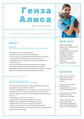 Veterinarian skills and experience on Medicine Resume – шаблон для дизайна