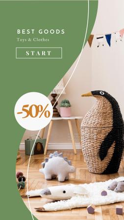 Plantilla de diseño de Sale Discount Offer with Cute Toys in Nursery Instagram Story