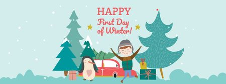 Boy and Penguin celebrating First Winter Day Facebook cover – шаблон для дизайна