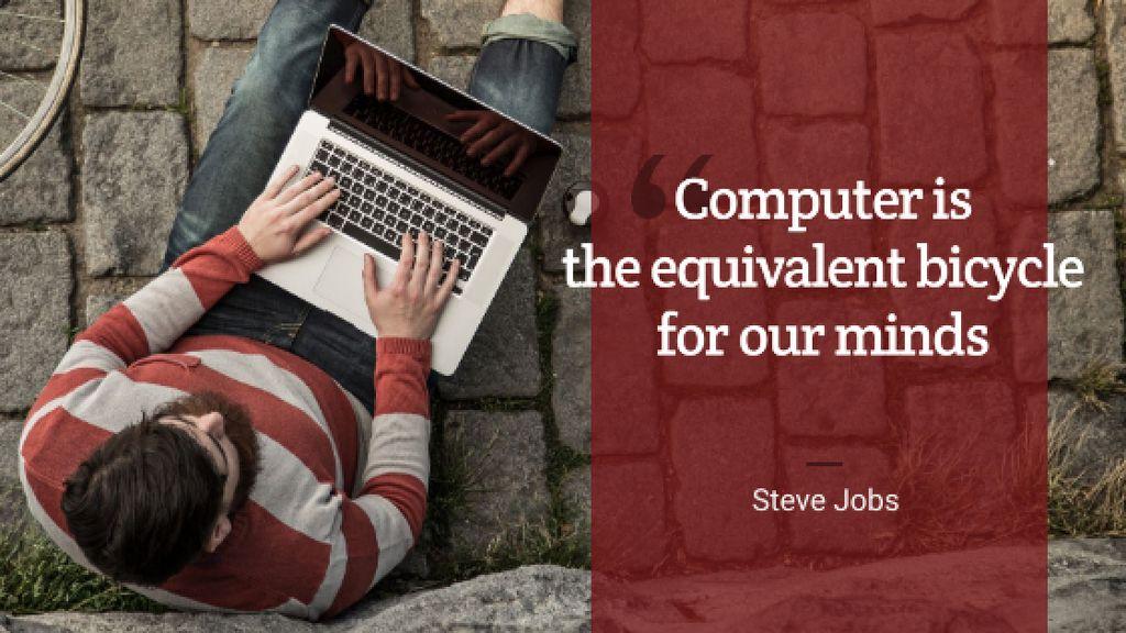 Ontwerpsjabloon van Title van Motivational quote with Young Man using laptop