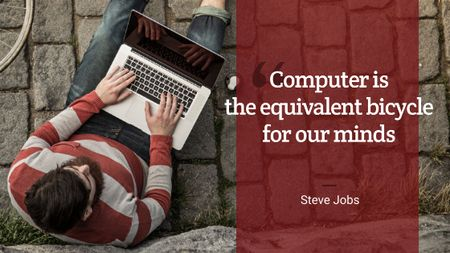 Plantilla de diseño de Motivational quote with Young Man using laptop Title