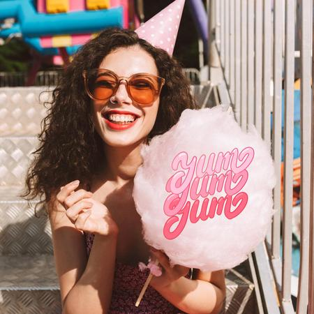 Smiling Young Woman with Cotton Candy Animated Post Modelo de Design