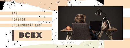 Young Man using Tablet Facebook cover – шаблон для дизайна