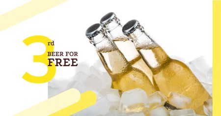 Modèle de visuel Beer Offer with Bottles in Ice - Facebook AD