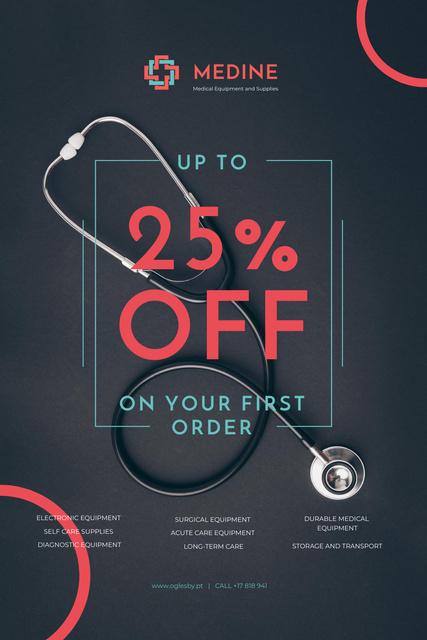 Platilla de diseño Clinic Promotion with Medical Stethoscope Pinterest