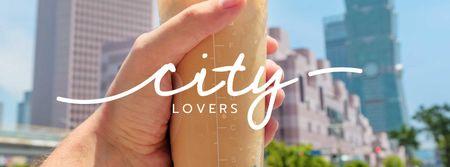 Plantilla de diseño de City Walk with Bubble tea Facebook cover