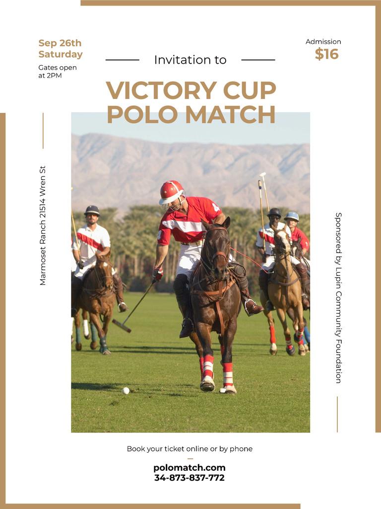Polo match invitation with Players on Horses — Modelo de projeto