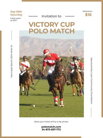 Polo match invitation with Players on Horses Poster US Tasarım Şablonu