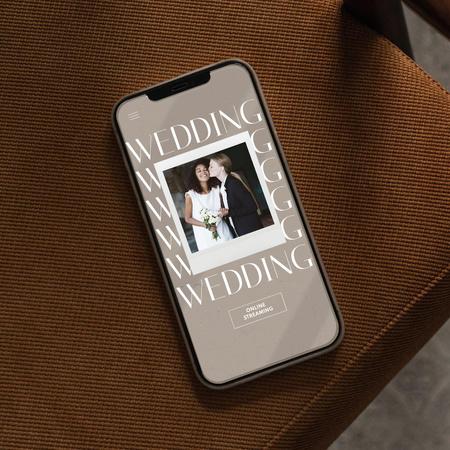 Wedding Announcement with Happy LGBT Couple on Phonescreen Instagram – шаблон для дизайну