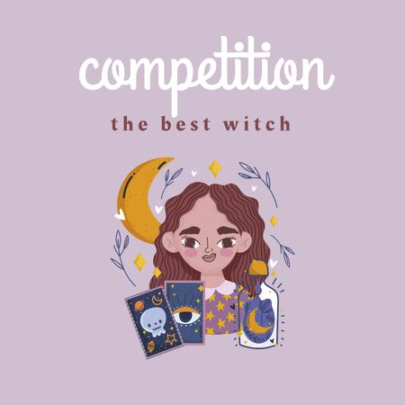 Illustration of Cute Witch with Tarot Cards Instagram – шаблон для дизайну