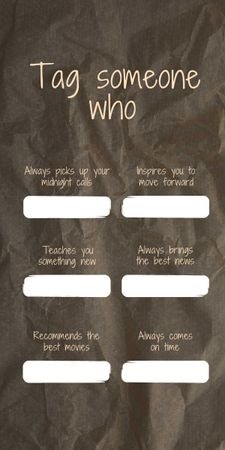 Designvorlage Form to tag someone on crumpled paper background für Graphic