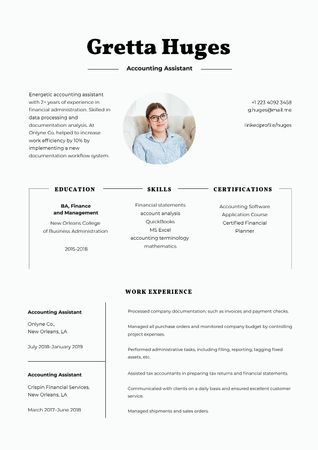 Plantilla de diseño de Accounting Assistant skills and experience Resume