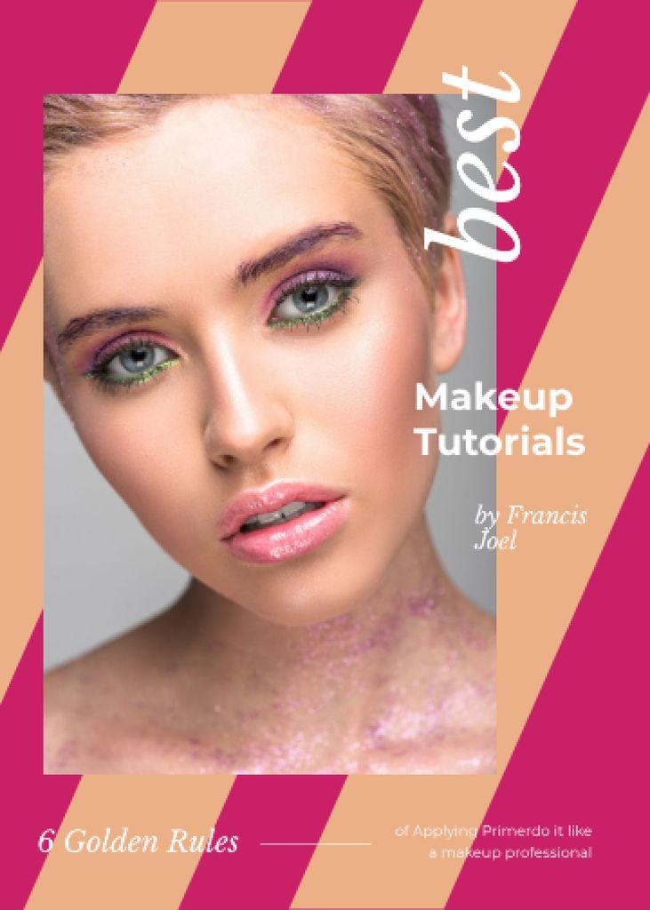 Ontwerpsjabloon van Invitation van Young woman with pink makeup