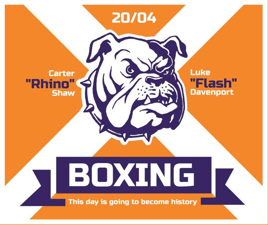 Boxing Match Announcement Bulldog on Orange —デザインを作成する