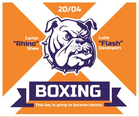Ontwerpsjabloon van Facebook van Boxing Match Announcement Bulldog on Orange