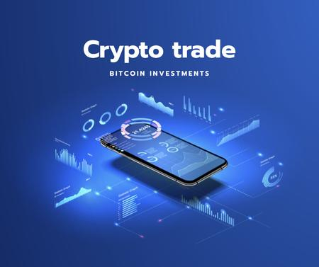 Crypto trade investments on phone screen Facebook tervezősablon