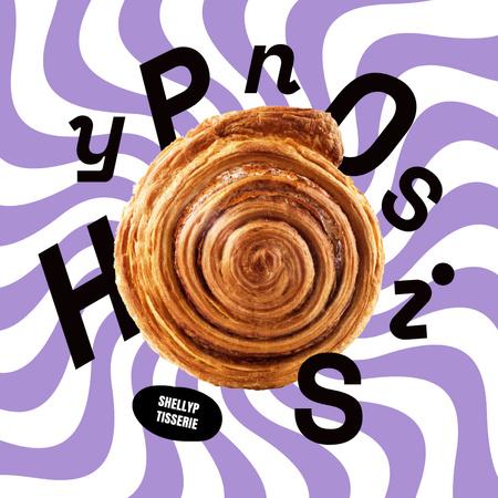 Designvorlage Funny Illustration of Cookie with Dizzy Pattern für Instagram