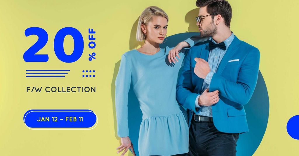 Fashion Collection Ad with Stylish Couple Facebook AD Design Template