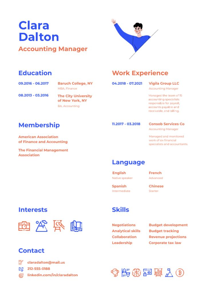 Accounting Manager skills and experience Resume – шаблон для дизайну