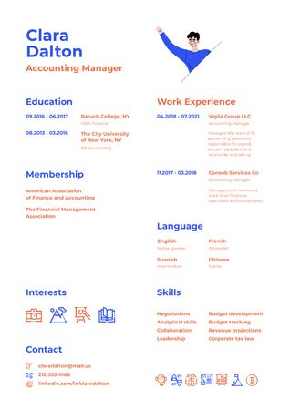 Accounting Manager skills and experience Resumeデザインテンプレート