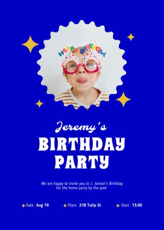Template di design Birthday Party Announcement with Cute Kid Invitation