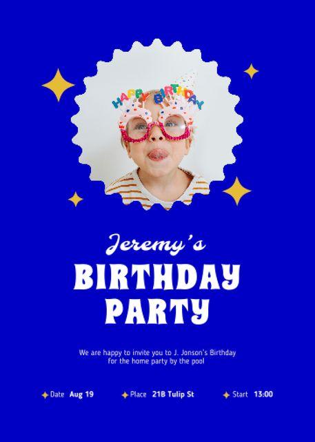 Plantilla de diseño de Birthday Party Announcement with Cute Kid Invitation