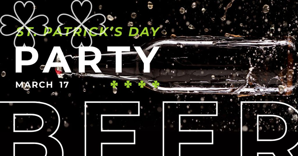 Invitation to Beer Party on St. Patricks Day Facebook AD Design Template