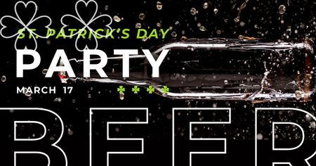 Template di design Invitation to Beer Party on St. Patricks Day Facebook AD