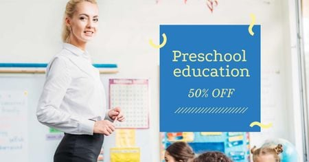 Preschool Education Course with Teacher in Classroom Facebook AD Design Template