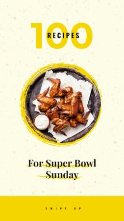 Fried chicken wings for Super Bowl Instagram Story Design Template