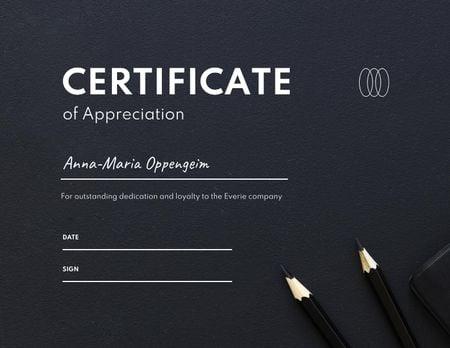 Template di design Business Achievement Award with Pencils Certificate