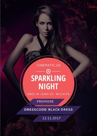Night Party Invitation Woman in Black Dress Invitation Modelo de Design