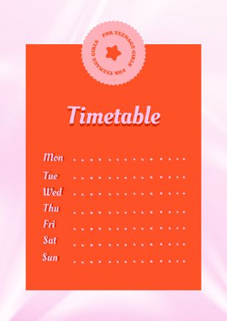 Cute Timetable for Teenage Girls Schedule Planner – шаблон для дизайна