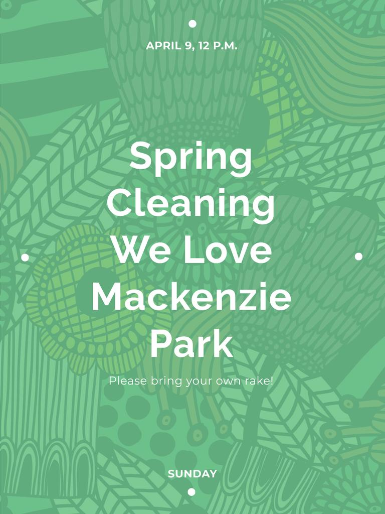Spring Cleaning Event Invitation Green Floral Texture — Modelo de projeto