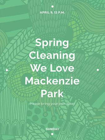 Plantilla de diseño de Spring Cleaning Event Invitation Green Floral Texture Poster US