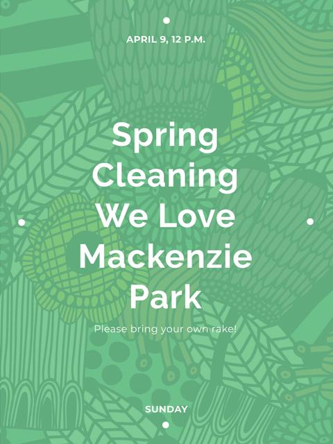 Spring Cleaning Event Invitation Green Floral Texture Poster US – шаблон для дизайна