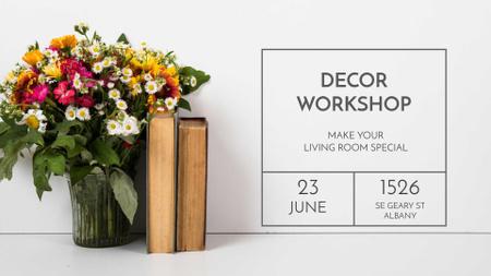 Plantilla de diseño de Cute Flower Bouquet with Old Books FB event cover