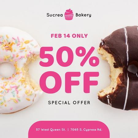 Valentine's Day Offer with sweet Donuts Instagram Design Template